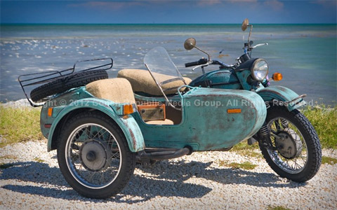 Raúl's vintage Russian Ural motorcycle featured in the film